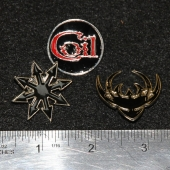 Set Of 3 Enamel & Metal Badge Pin Chaos Star Logo